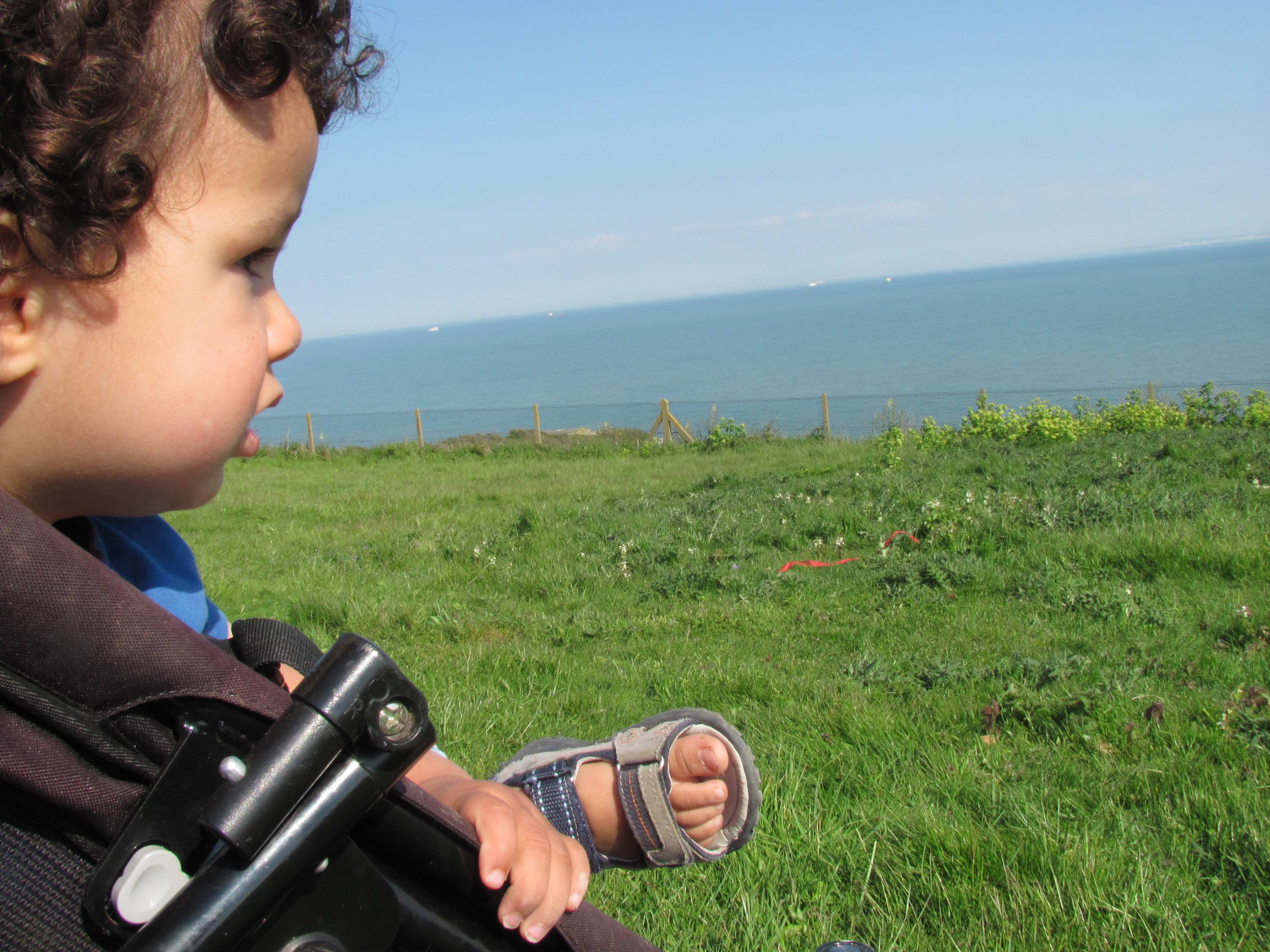 baby looking out over the sea