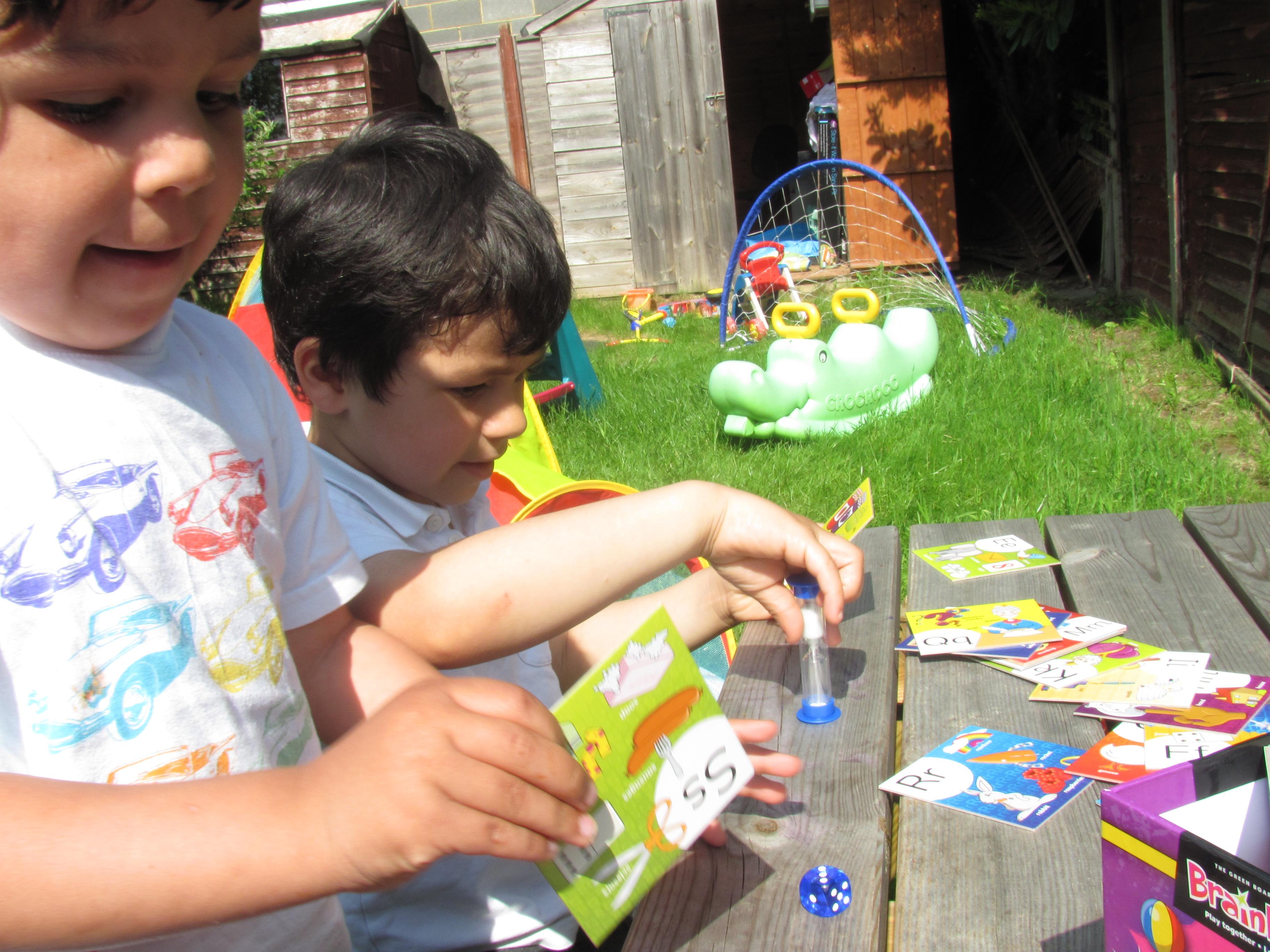 playing brainbox games in the garden