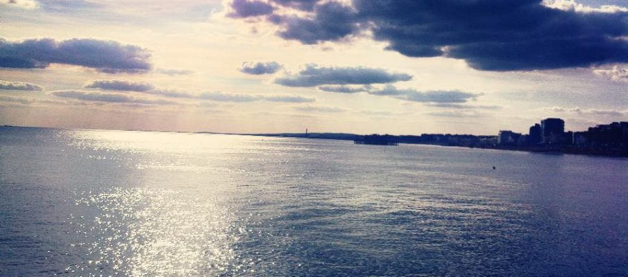 light on the water, sparkly water, light on the sea, brighton sea, artistic picture of brighton, view from brighton pier