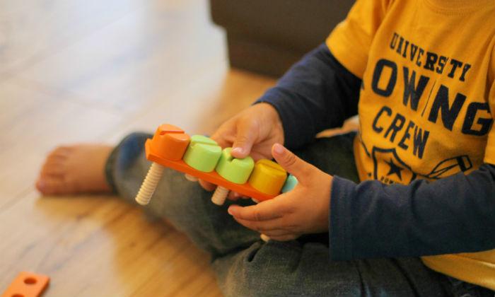 fine motor and pattern practise with Bigjigs wooden construction