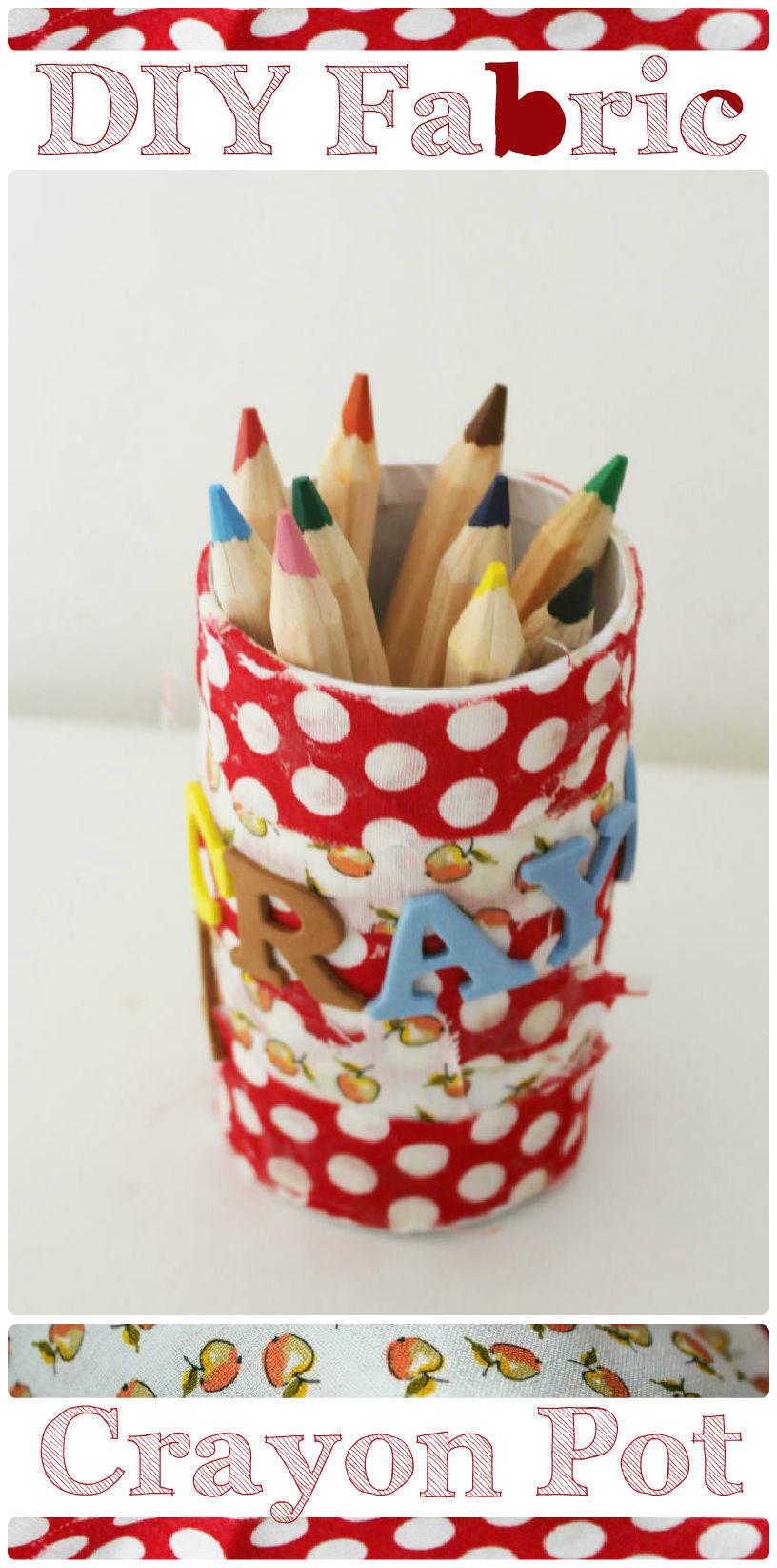 diy fabric crayon pot in the playroom. Black Bedroom Furniture Sets. Home Design Ideas