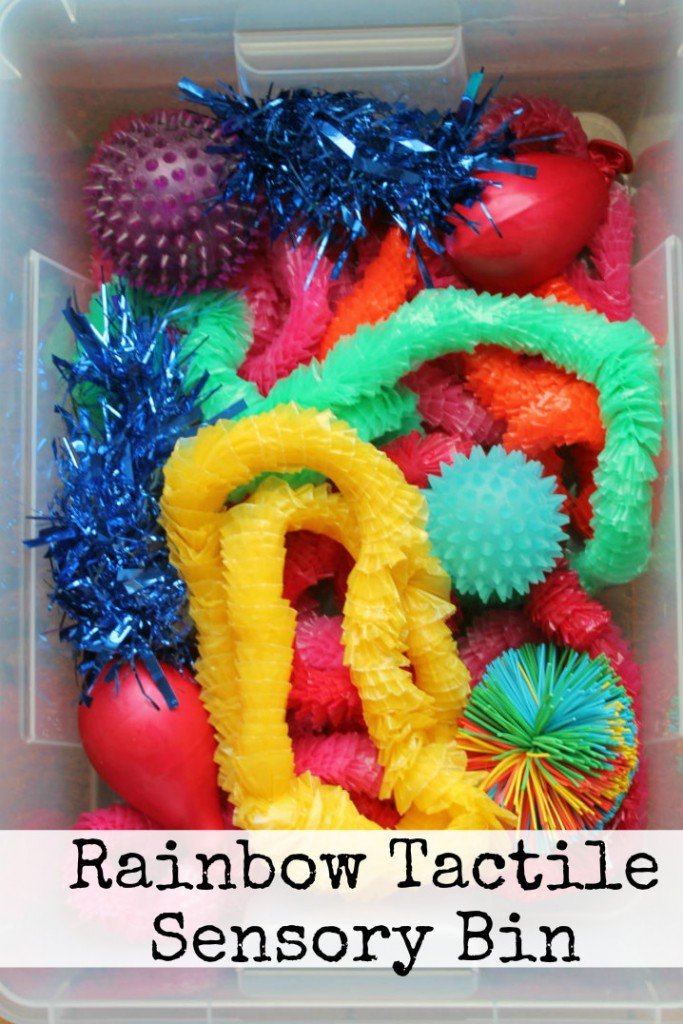 Sensory Play Rainbow Tactile Sensory Bin In The Playroom