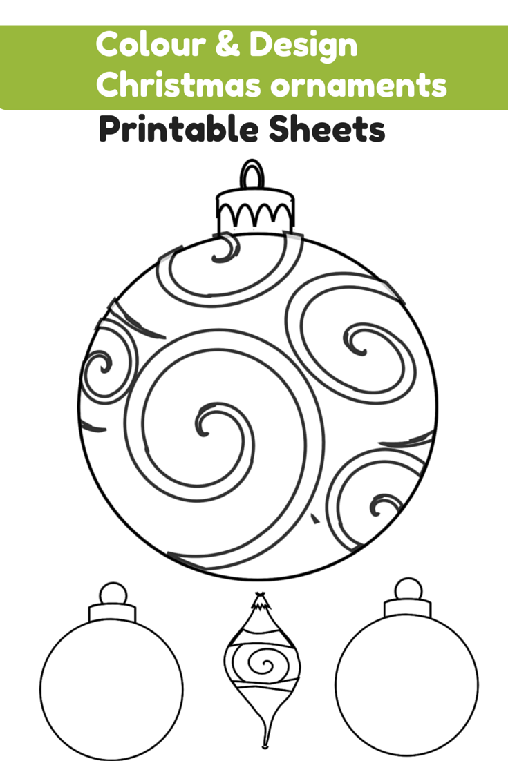 Colour and Design your own Christmas Ornaments Printables