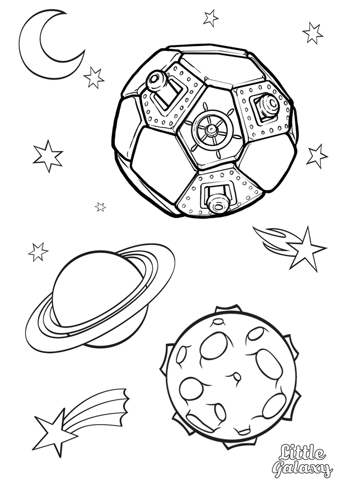 Space Colouring Pages from Little