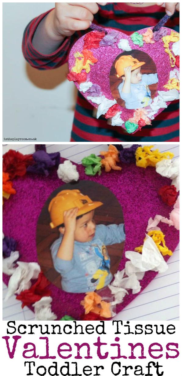 Scrunched Tissue Paper Valentines Heart Craft