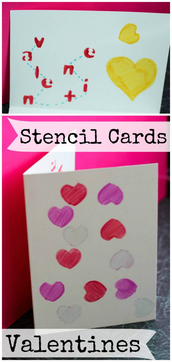 Simple Stencil Valentines Day Cards