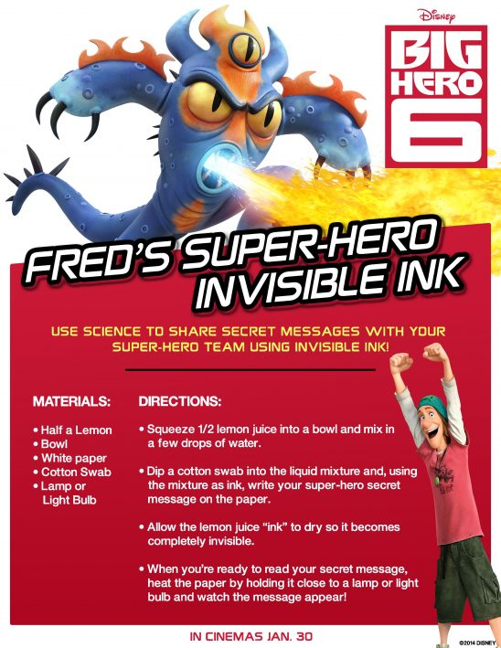 Big Hero 6 Science Experiments : Fred's Super Hero Invisible Ink