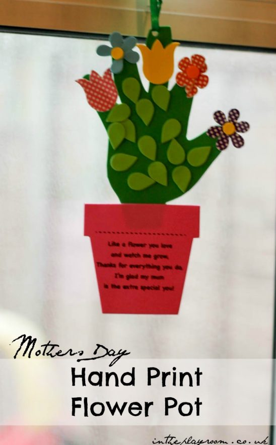 Handprint Flower Pot Craft for Mothers Day