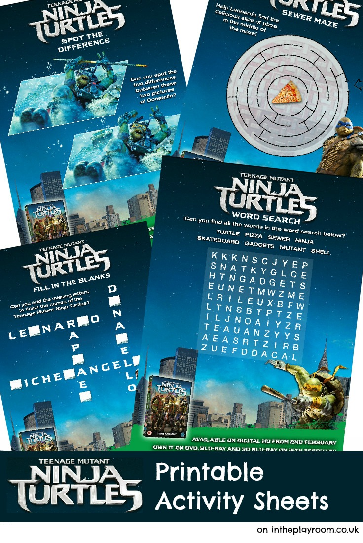 Teenage Mutant Ninja Turtle Printable Activity Sheets (TMNT)