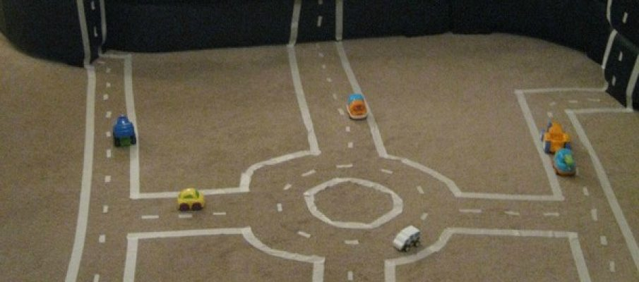 Masking Tape Car Track for In The Playroom