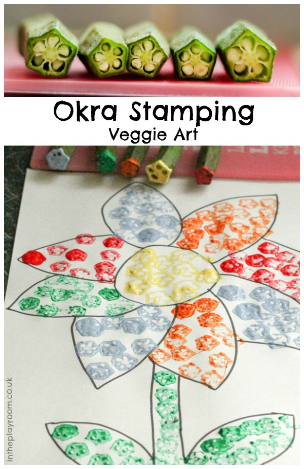 veggie stamping with okra in the playroom