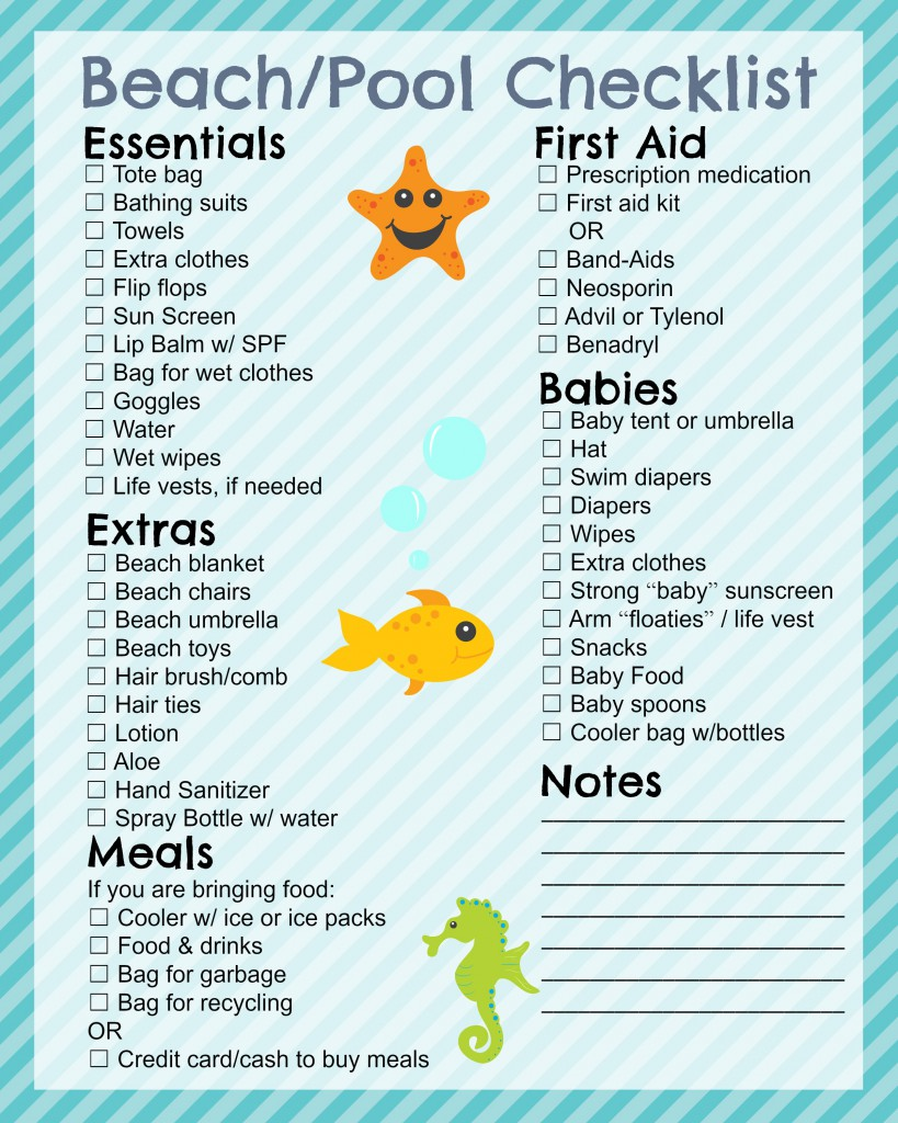 Printable Beach Checklist In The Playroom