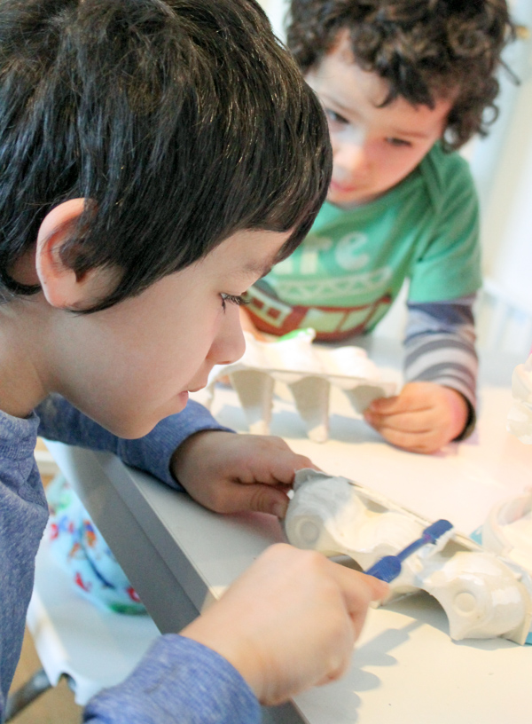 Egg Carton Toothbrush Painting To Help Kids Learn About