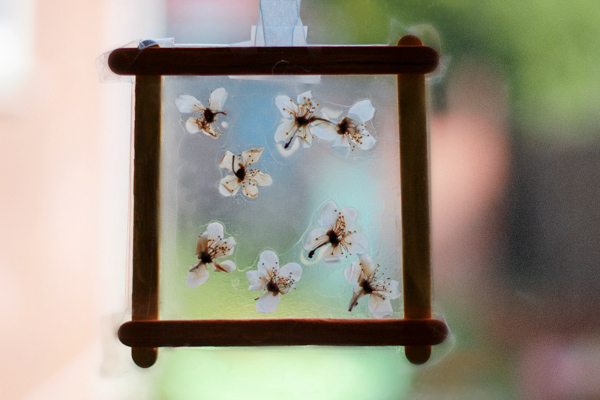 Spring blossom window decorations in the playroom - Window decorations for spring ...