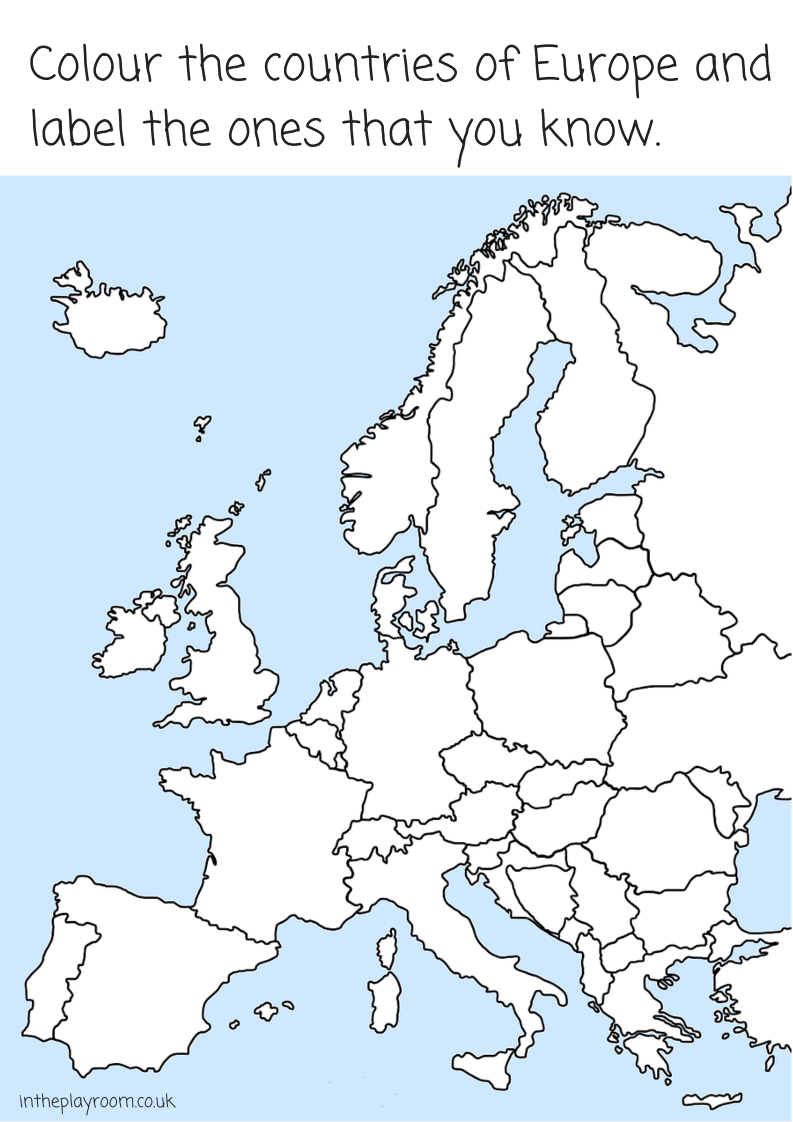 Colour Europe and label the countries