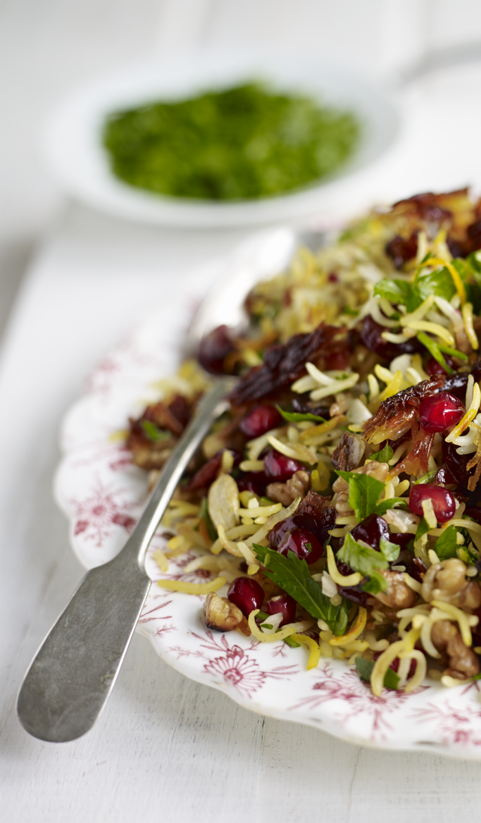 Jewelled Persian Rice with Pomegranates, Walnuts & Parsley - In The ...