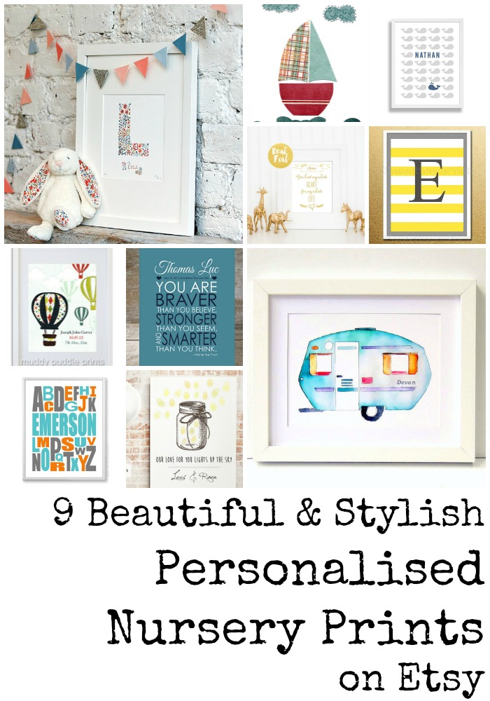 9 Beautiful & Stylish Personalised Nursery Prints on Etsy