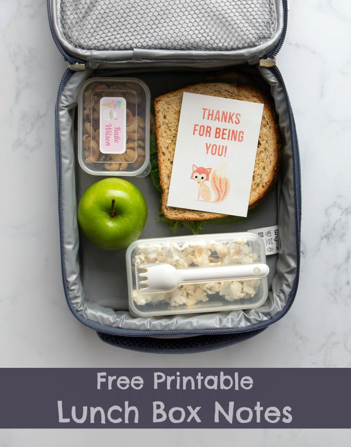 Back to School Lunch Box Note Printables