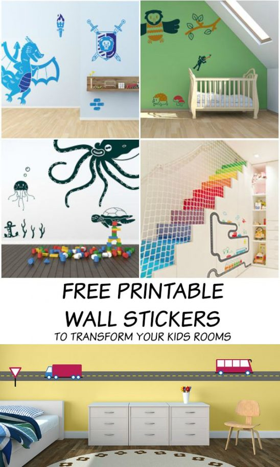 Free Printable Wall Stickers for Kids Rooms