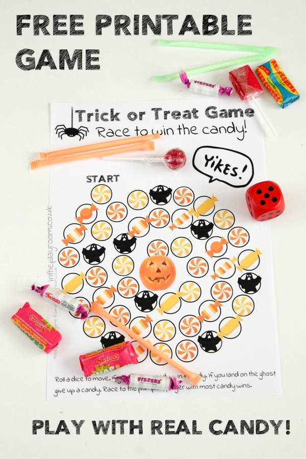 Trick or Treat Free Printable Game for Kids to Play with Real Candy.