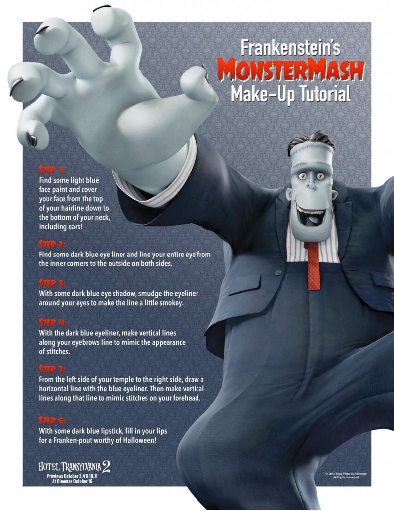 Hotel Transylvania Inspired Frankenstein Make Up for Halloween