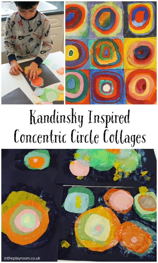 Kandinsky Inspired Concentric Circles Collage In