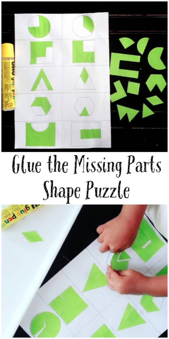 Glue the Missing Parts Shape Puzzle Activity