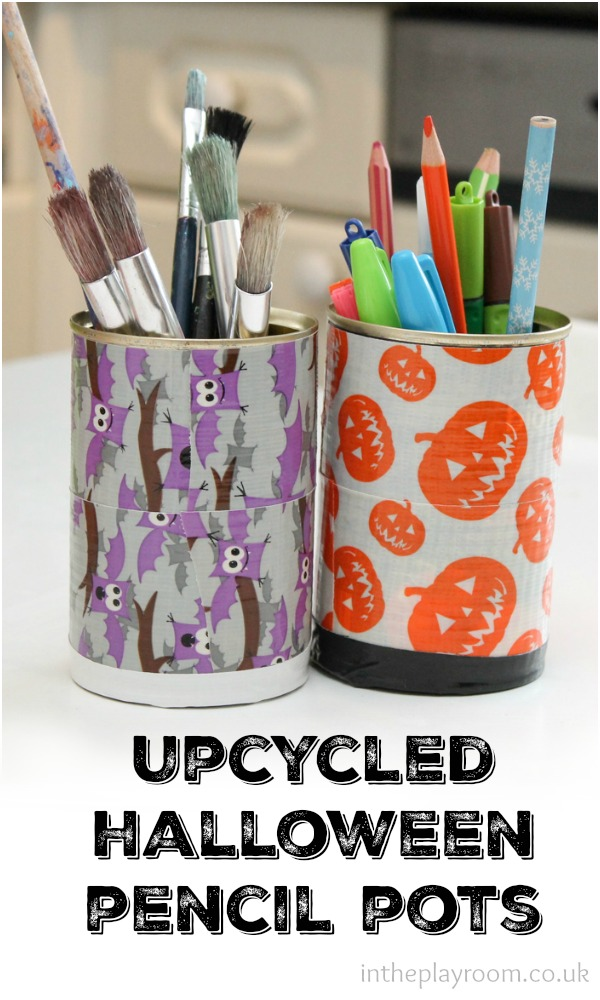 Upcycled Halloween Pencil Pots In The Playroom