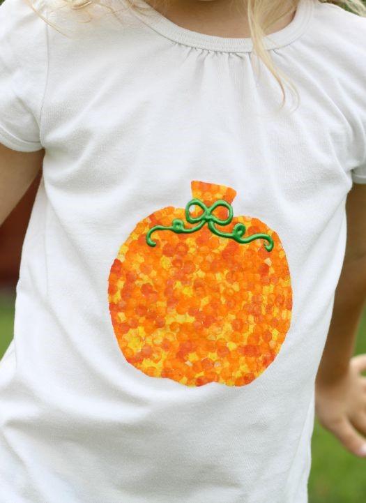 DIY Pencil Eraser Stamped Pumpkin T Shirt For Kids