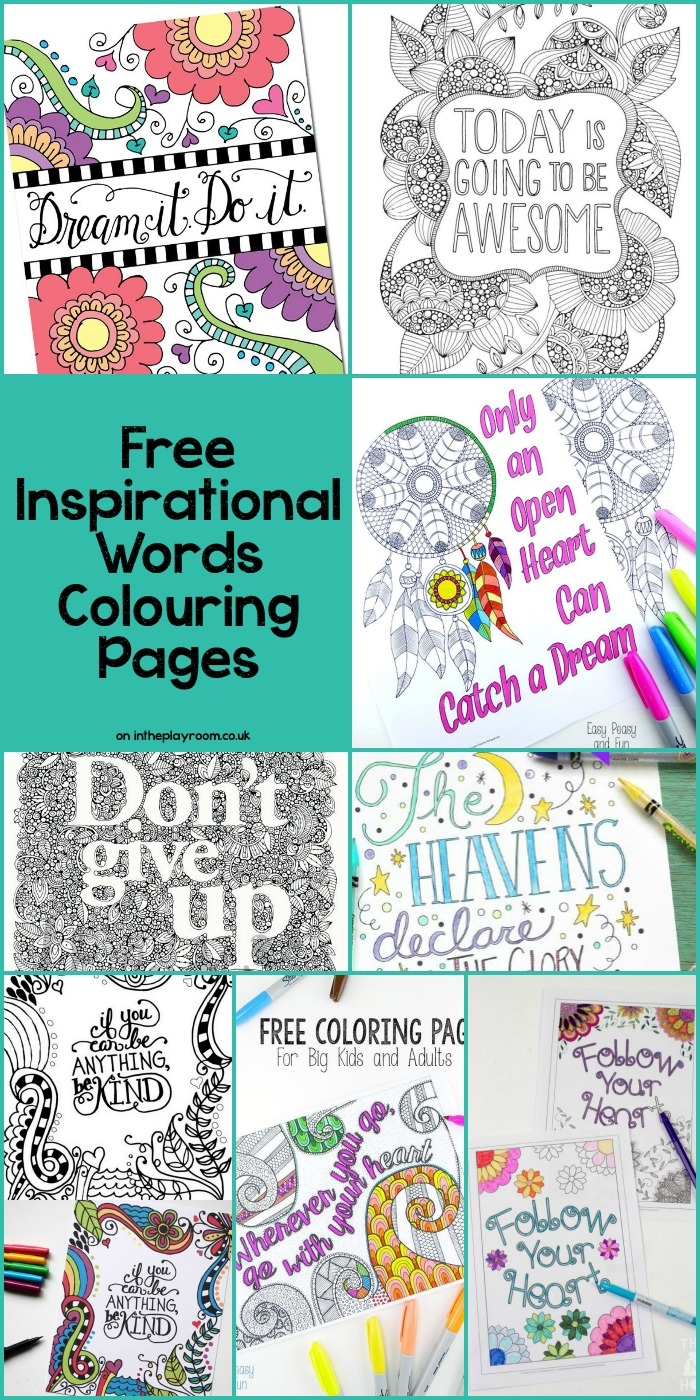 Inspirational Words Grown Up Colouring