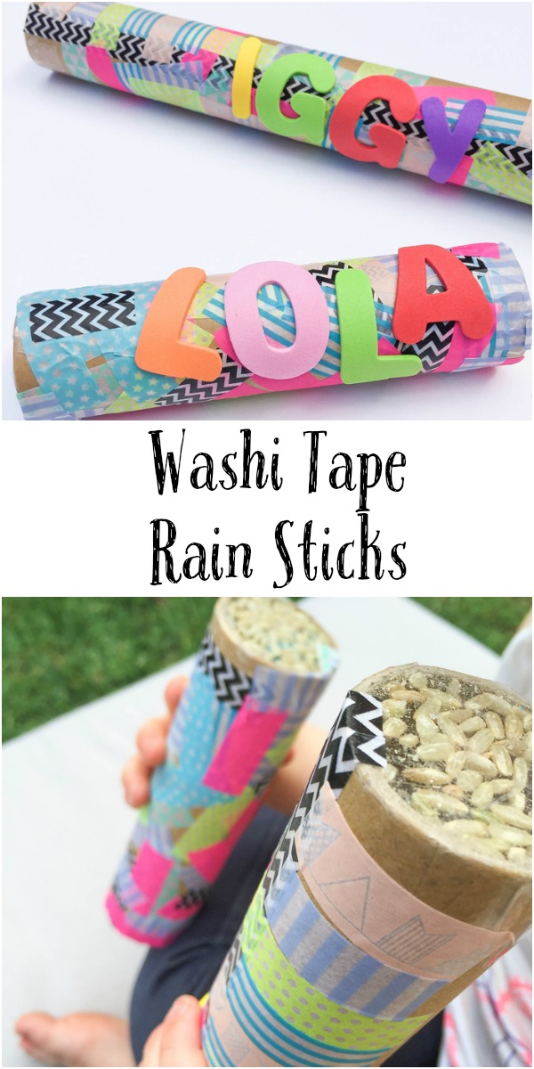 Washi tape rain sticks in the playroom for Easy rain stick craft