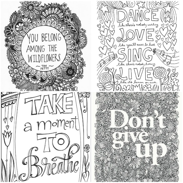 Creative Quotes Coloring Book Just Breathe Colored : Inspirational words grown up colouring pages in the playroom
