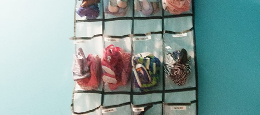 A shoe organizer for american girl doll clothing storage