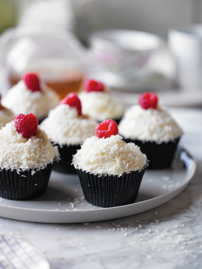 Raspberry & Coconut Ice Cupcakes