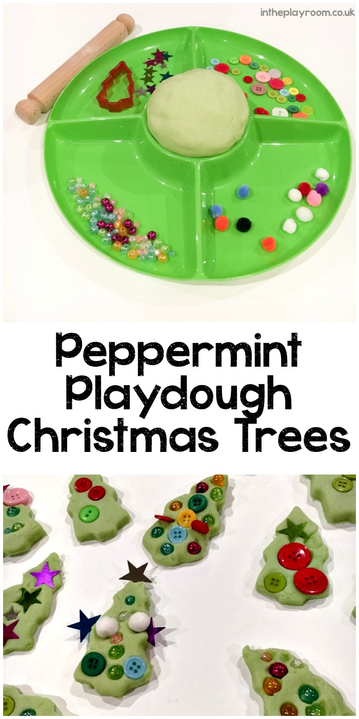 Invitation to decorate Peppermint Play Dough Christmas Trees