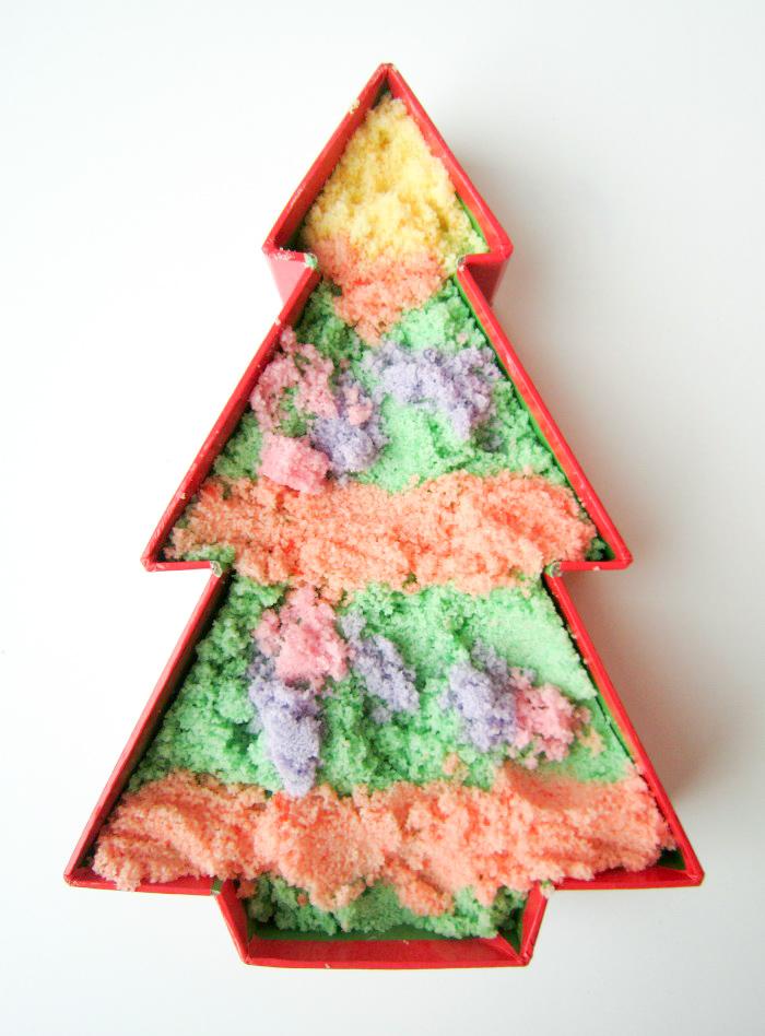Toddler made coloured salt Christmas tree