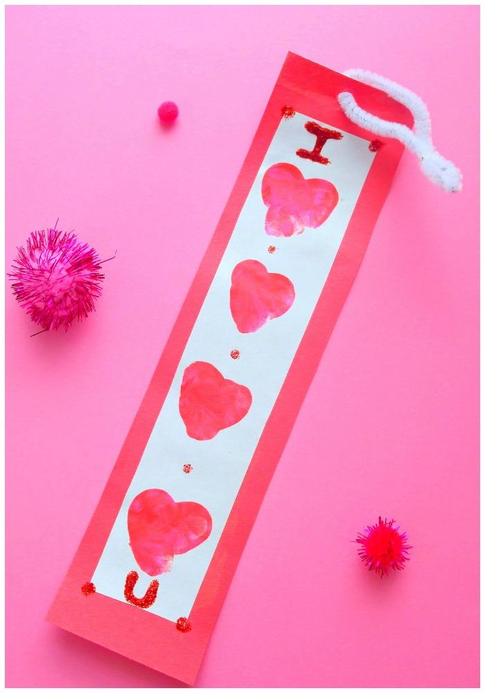 Valentines Thumbprint Heart Bookmark