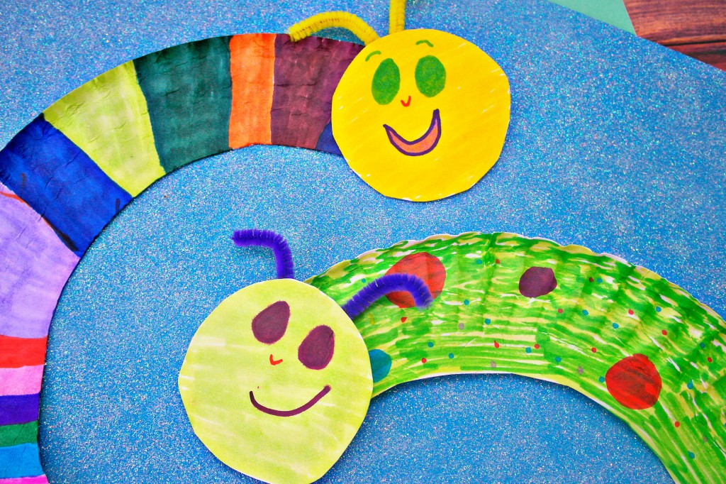 Paper plate caterpillars in the playroom