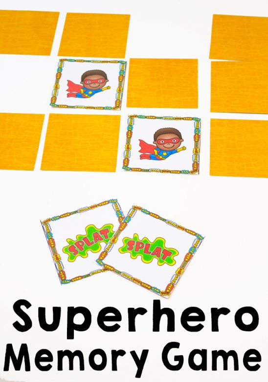 Superhero Memory Game Printable Pack