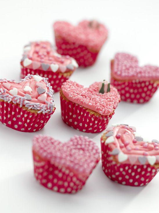 Valentines Pink Heart Shape Cupcakes