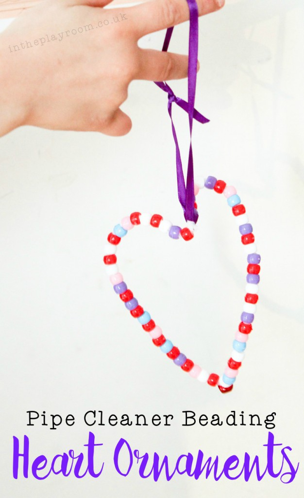Pipe Cleaner Beading Heart Decorations for Valentines Day