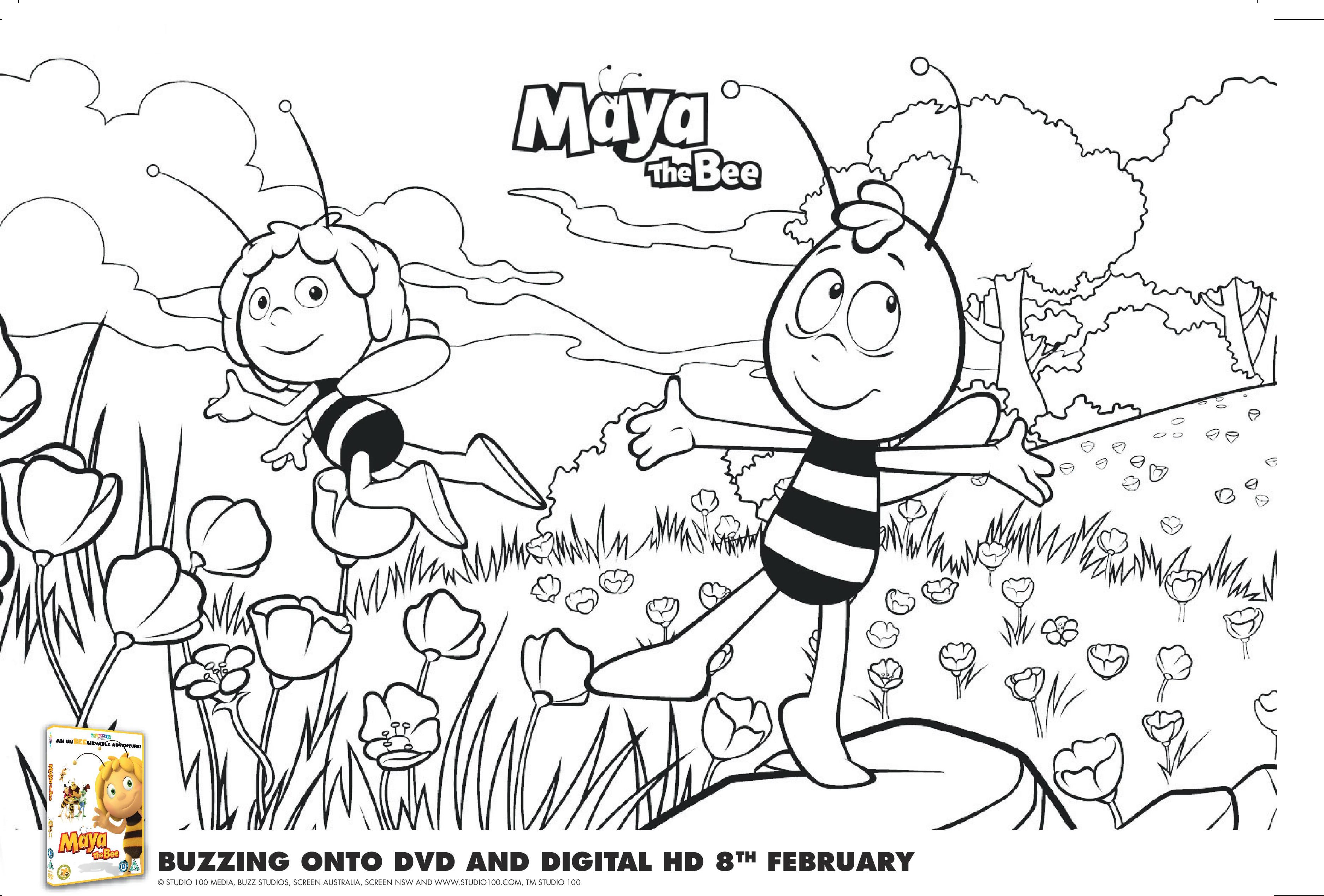 Maya the Bee colouring sheet 1-page-001
