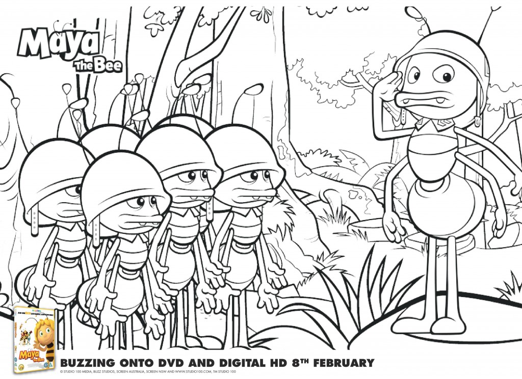 Maya the Bee Colouring Pages and Printable Mask In The