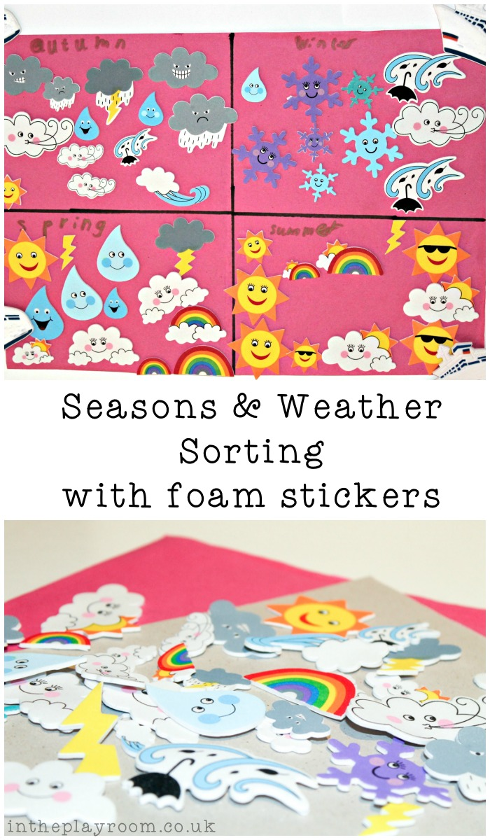 Seasons Weather Sorting Activity with Foam Stickers