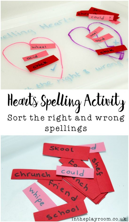 Hearts Spelling Activity: Sort the right and wrong spellings