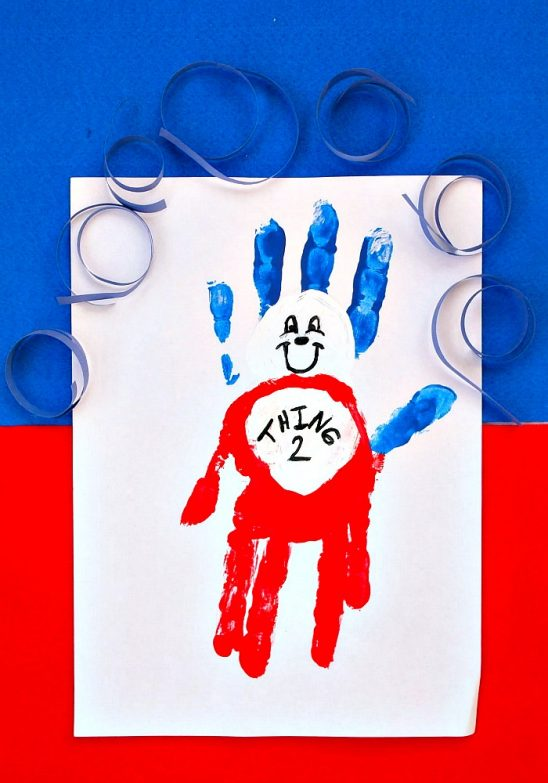 Easy Handprint Thing 1 or Thing 2 from Dr Seuss' The Cat in the Hat