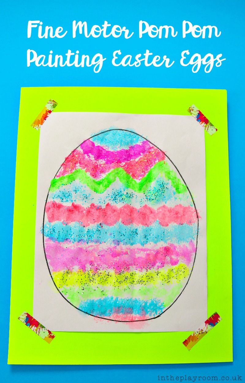 Fine Motor PomPom Painting Easter Eggs
