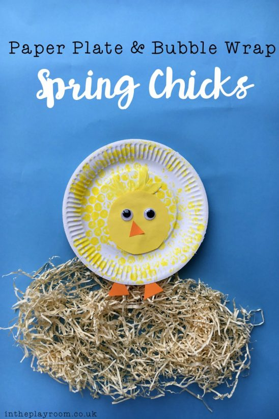 Paper Plate & Bubble Wrap Chicks Craft