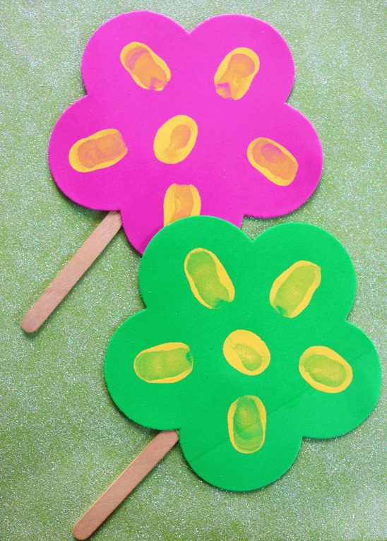 Thumbprint Popsicle Stick Flowers