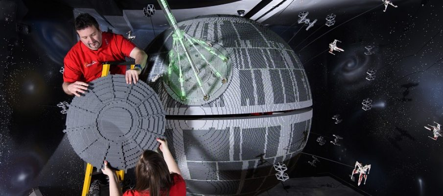 ONE OF THE WORLD'S BIGGEST EVER LEGO® STAR WARS™ MODELS INSTALLED AT THE LEGOLAND® WINDSOR RESORT. LAST PIECES PUT IN PLACE IN NEW LEGO® Star Wars™ Miniland Model Display Finale. Britain